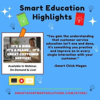 """""""You gain the understanding that customer service education isn't one and done, it's something you practice and improve on in every single interaction with your customer.""""  -@smartchickmegan 💡 💡 💡 💡 #customerserviceedition #customerservice #education #ondemand #apartmenteducation #apartmenttraining #training #rentalpropertymanagement #apartment #apartmentworker #residentretentionidea #beNice #itsabird #itsaplane✈️ #itsgreatcustomerservice"""