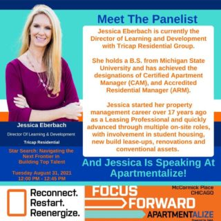 It's time to meet the panelist, Jessica Eberbach for the upcoming Apartmentalize session, Star Search: Navigating The New Frontier In Building Top Talent! Jessica Eberbach is currently the Director of Learning and Development with Tricap Residential Group.  She holds a B.S. from Michigan State University and has achieved the designations of Certified Apartment Manager (CAM), and Accredited Residential Manager (ARM).   Jessica started her property management career over 17 years ago as a Leasing Professional and quickly advanced through multiple on-site roles, with involvement in student housing, new build lease-ups, renovations and conventional assets.  Jessica is also speaking at Apartmentalize, and you could come and join her and the rest of the Star Search panelist, 8/31/21 from 12-12:45pm CT.  If you haven't registered yet, use this code to save $50  ISPEAK@APT at registration check out.  What are you waiting for? @smartchickmegan @jessicaeberbach @naahq  😀 😀 😀 😀 #Apartmentalize #apartmentalize2021 #apartmentconference #apartmenteducationconference #starsearch #toptalent #talentdevelopment #apartmentrecruitment  #rentalpropertymanagement #chicago #chicagointhesummer #McCormickCenter #naahq