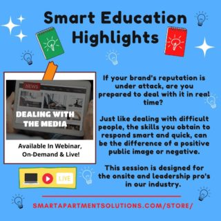 If your brand's reputation is under attack, are you prepared to deal with it in real time?   Just like dealing with difficult people, the skills you obtain to respond smart and quick, can be the difference of a positive public image or negative.  This session is designed for the onsite and leadership pro's in our industry.   You can check out the on-demand version of this session at WWW.SMARTAPARTMENTSOLUTIONS.COM/STORE/  #ondemandeducation #dealingwiththemedia  #rentalpropertymanagement #leadership #apartment #michigan  #education #Smart #Ohio #indiana #pennsylvania #publicimage #reputation #brandreputation