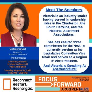 In this week's Meet The Panelist, we find out more about Victoria Cowart @qvcow with Pet Screening!  Victoria is an industry leader having served in leadership roles in the Charleston, the South Carolina, and the National Apartment Associations.   She has chaired three committees for the NAA, is currently serving as its Legislative Committee Vice Chair and serves as a Region IV Vice President.  Victoria is also speaking at this years @naahq Apartmentalize Conference in Chicago 8/31/21 You can join the fun and save a little bit of money by using this code at registration checkout:  ISPEAK@APT 💵 💵 💵 💵 #chicago #McCormickCenter #ancillaryincome #realestatemanagement #educationconference #Apartmentalize  #CPM #incomeproducingproperty #petscreening #apartmentindustry #rentalpropertymanagement