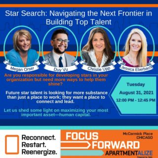 Have you registered for Apartmentalize yet? You don't want to miss this session, Star Search: Navigating the Next Frontier in Building Top Talent, August 31, 2021 from 12pm-12:45 CST! @naahq @smartchickmegan  🤓 🤓 🤓 🤓 #Apartmentalize #starsearch #toptalent #TalentRetention #onboarding #employeeburnout #chicago #apartment #rentalpropertymanagement