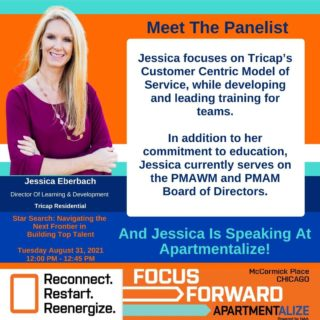 In this weeks, Meet The Panelist for the Apartmentalize session, Star Search, we get another look at @jessicaeberbach and all she has accomplished!   Jessica focuses on Tricap's Customer Centric Model of Service, while developing and leading training for teams.  In addition to her commitment to education, Jessica currently serves on the PMAWM and PMAM Board of Directors.  Jessica is also one of the panelists at this year @naahq #apartmentalize conference, which you do not want to miss!  Save a little money with this discount code: ISPEAK@APT 😀 😀 😀 😀 #apartmentalize #chicago #apartmentindustryeducation #starsearch #talentdevelopment #realestatemanagement #multifamily #apartmenteducation